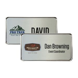 "Silver Framed Name Badge w/Full Color Imprint & Personalization (2 15/16"" x 1 5/8"")"