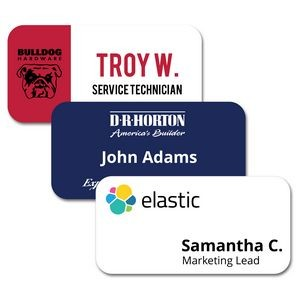 "1.5"" x 3"" Glossy Plastic Name Badge w/Full Color Imprint & Personalization"