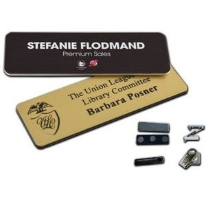 "Name Badge w/Engraved Personalization (1""x3"")"